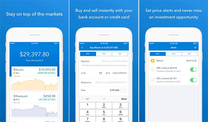 Coinbase iPhone and iPad App Screenshot