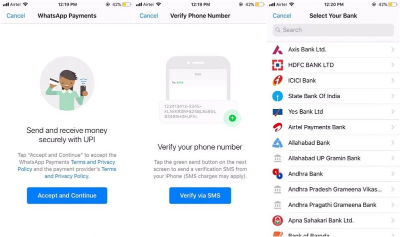 Whatsapp peer-to-peer payments system