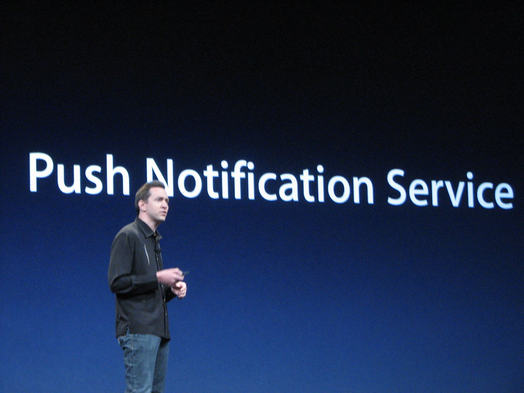 Apple announcing push notifications for the mail app on iPhone.