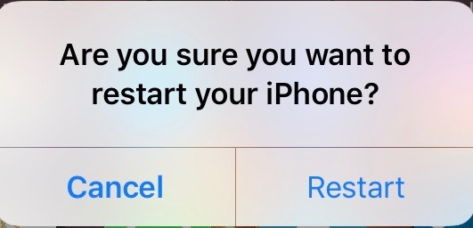 How to reboot or restart an iPhone without using lock button confirmation text.