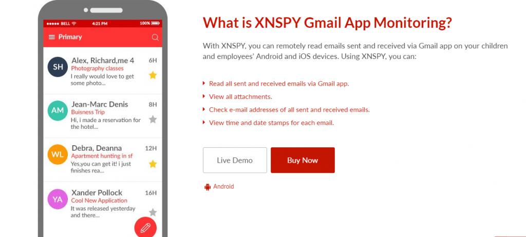 Business App XNSPY Gmail app.