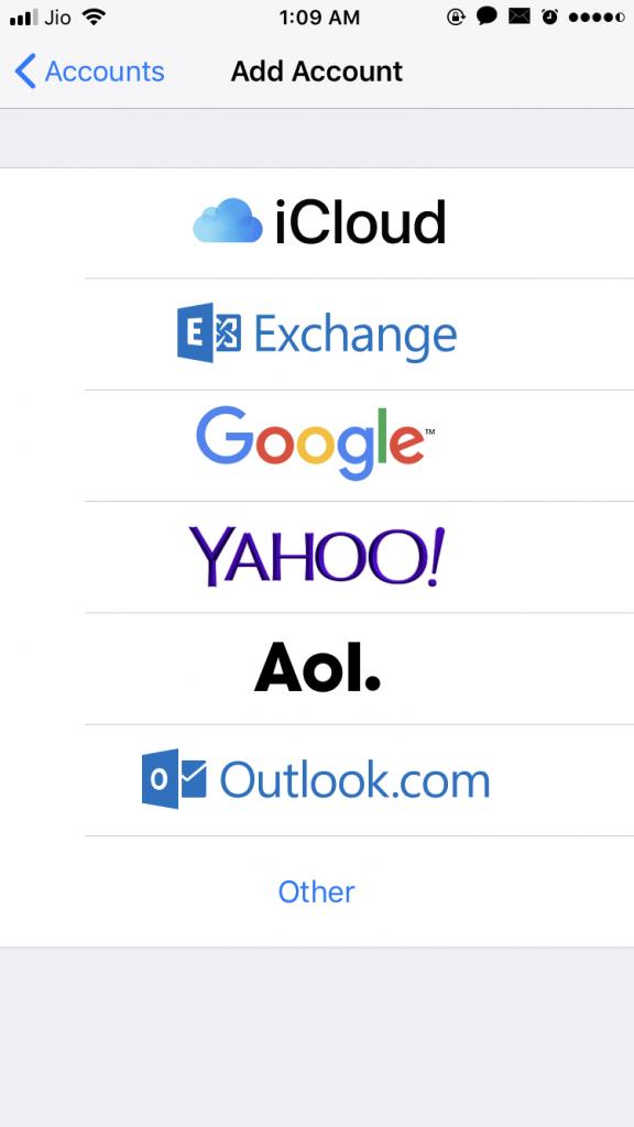 Stock iOS app email accounts