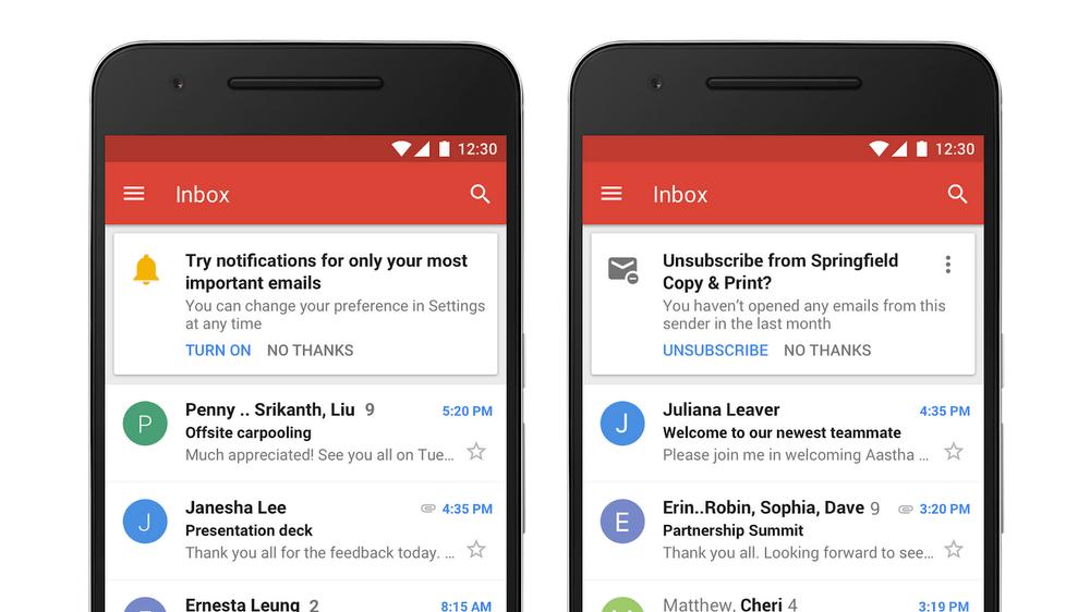 New Gmail design interface.
