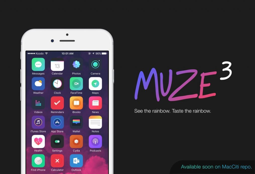 Muze 3 Cydia jailbreak theme for Electra Jailbreak for iOS 11