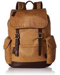 fossil Brown Defender Leather Trim Rucksack Backpack