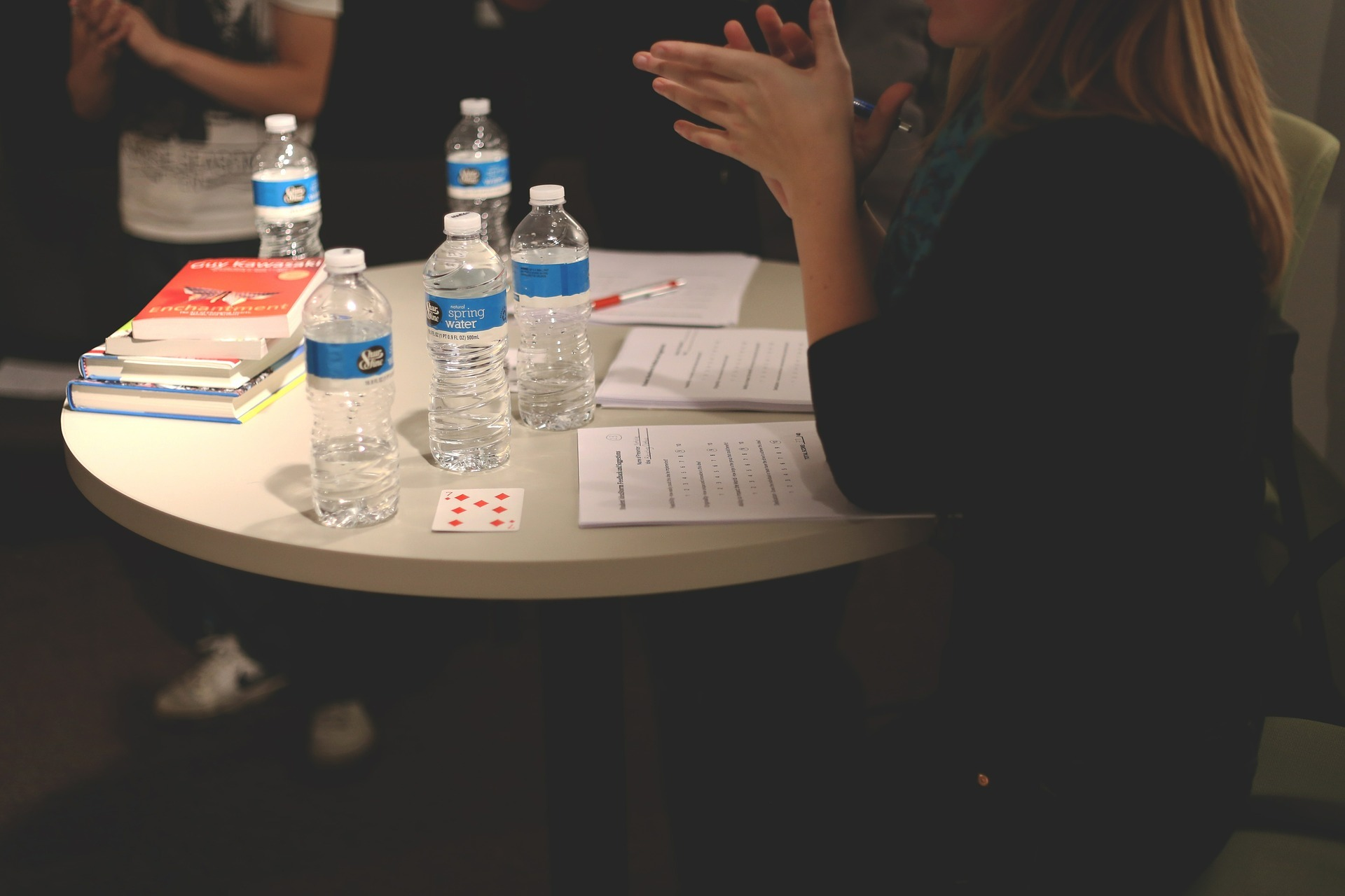 Water with People in a meeting.
