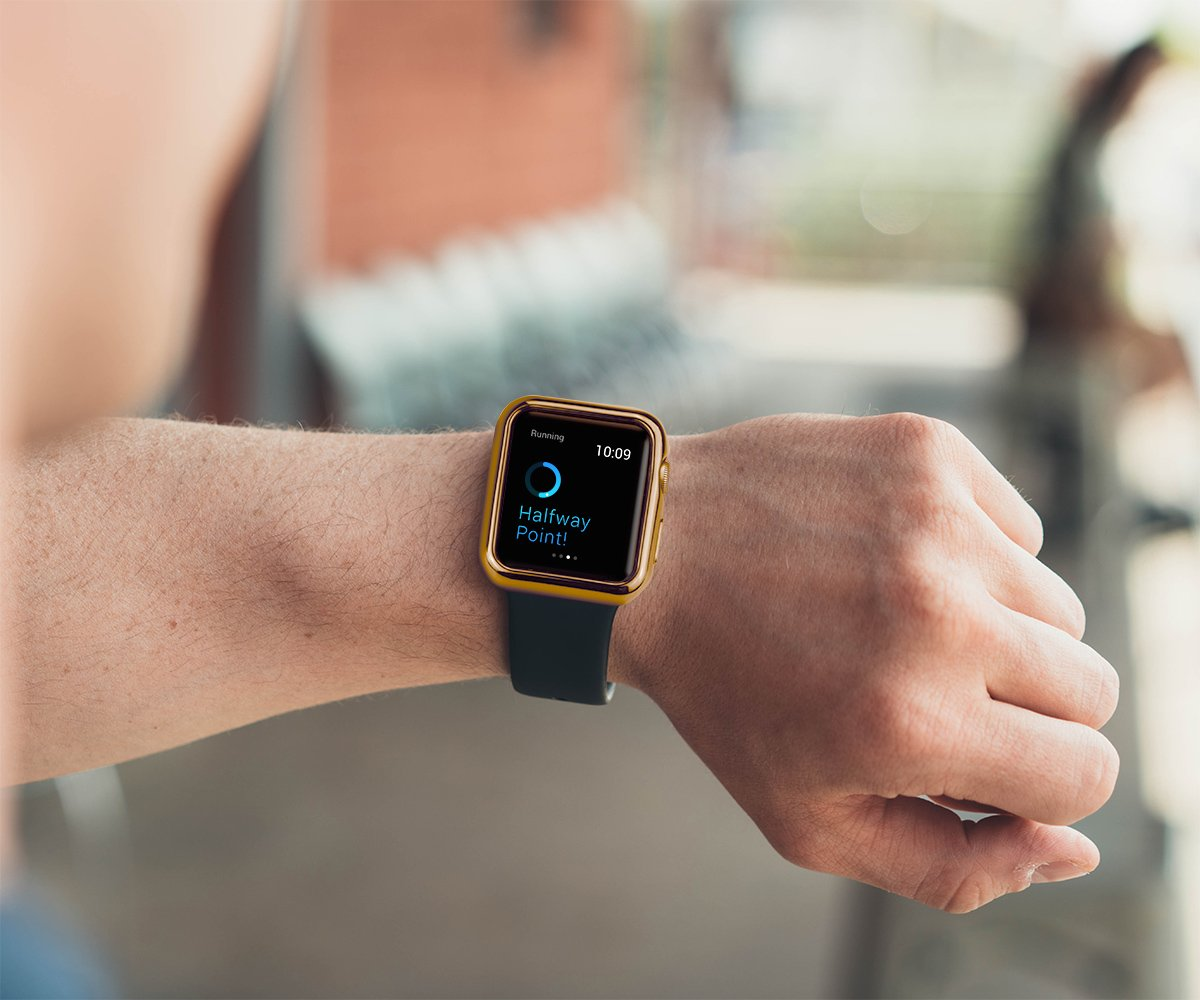 Apple Watch strapped to a hand