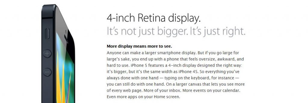 iPhone 5 display description