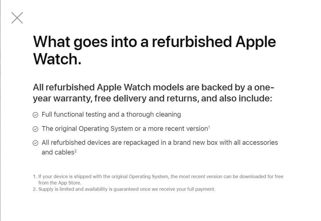 Refurbished Apple Watch Guidelines