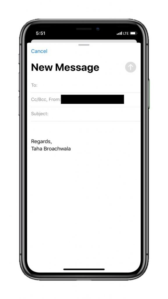 Ios mail app composing interface