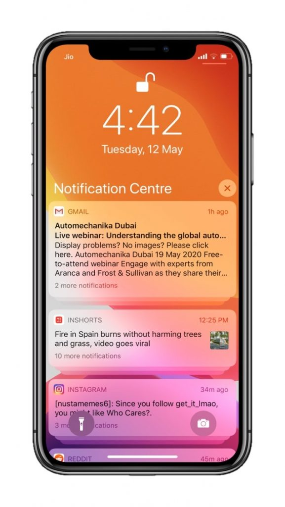 iOS notifications on iPhone