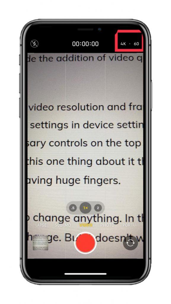 iOS video recording interface inside the camera app.