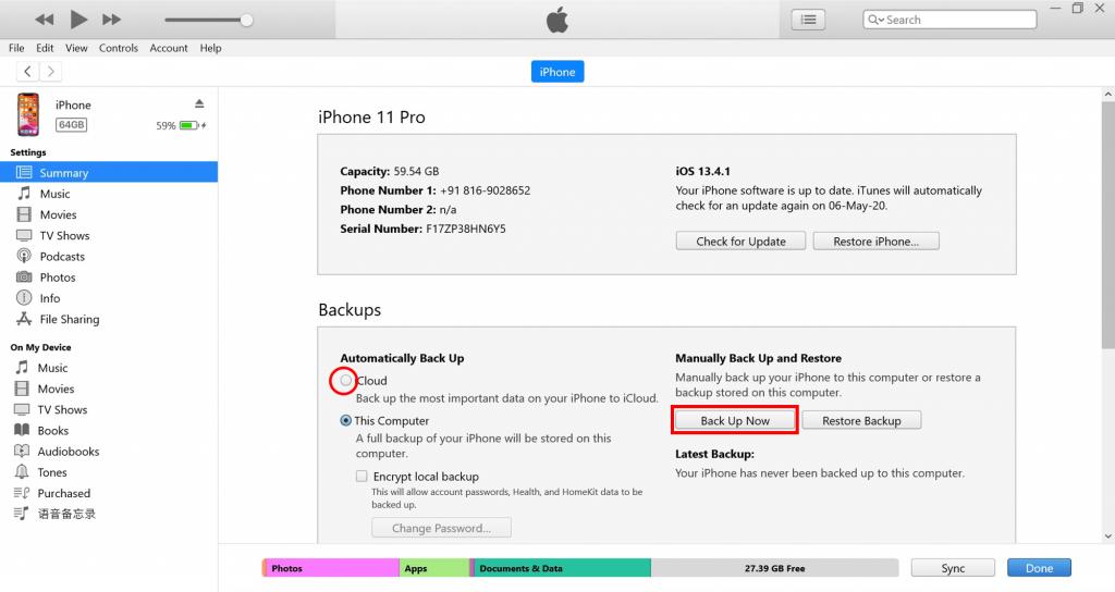 iCloud iTunes backup
