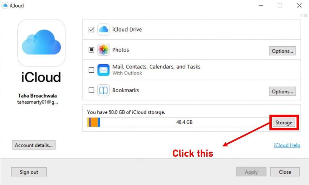 iCloud windows homescreen 1