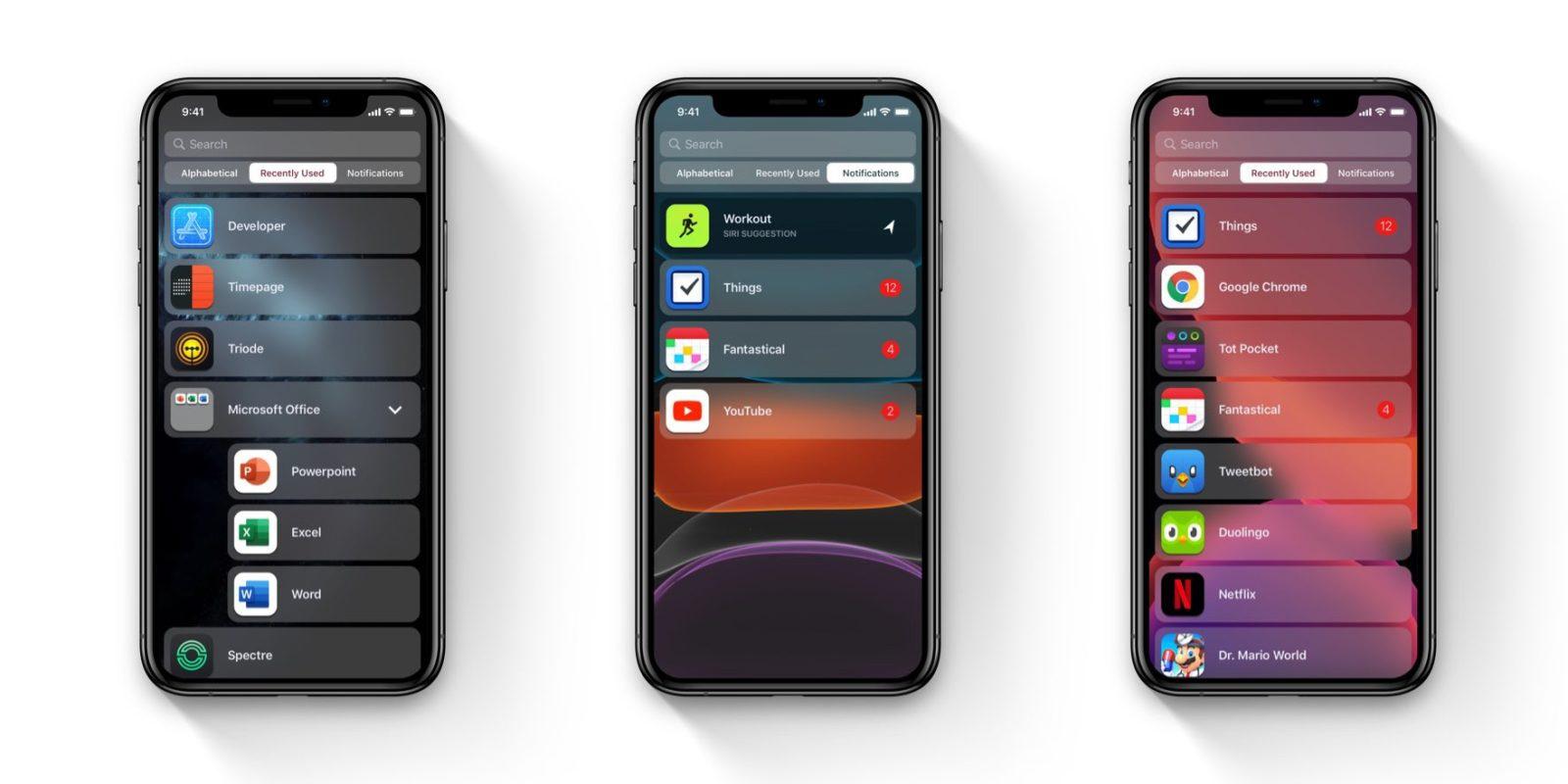 iOS home screen list view