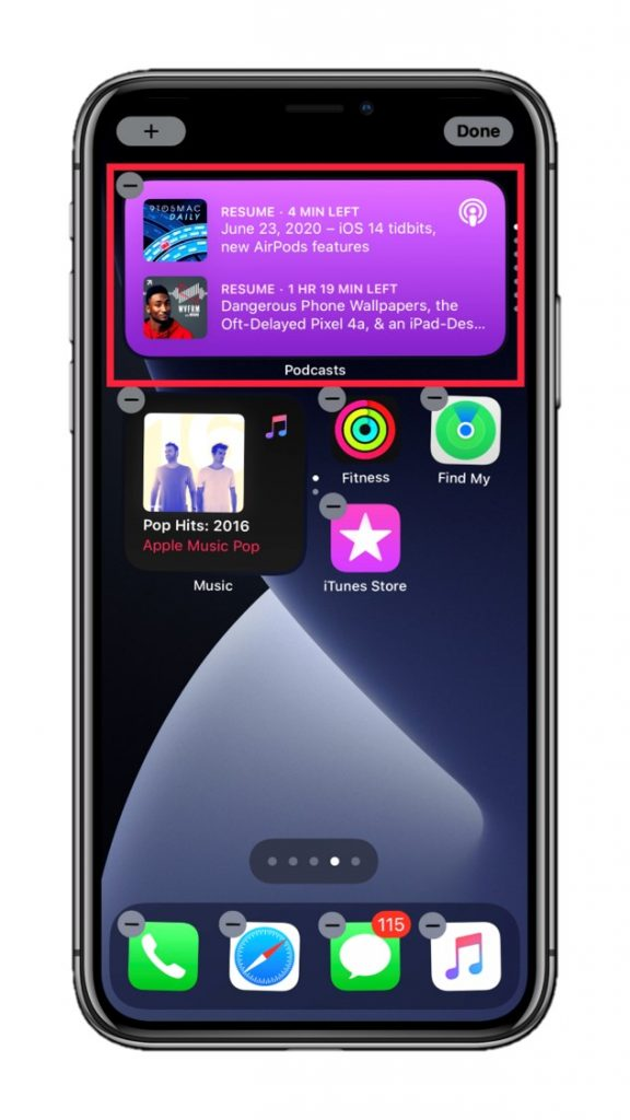 Podcast widget in a stack