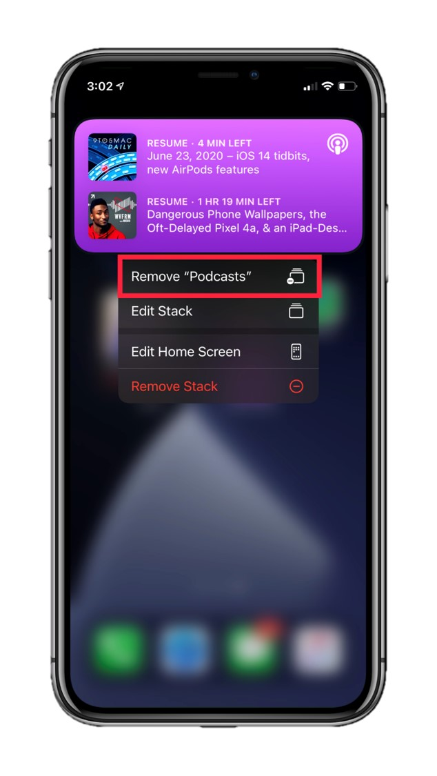 Remove Podcasts widget from a Smart Stack
