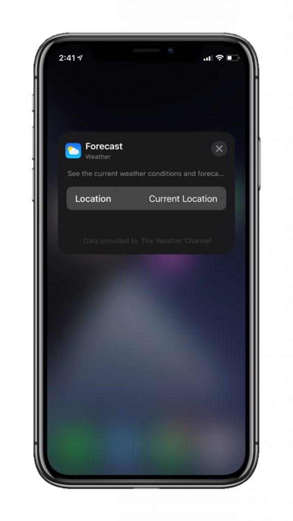 Weather widget editing in a stack