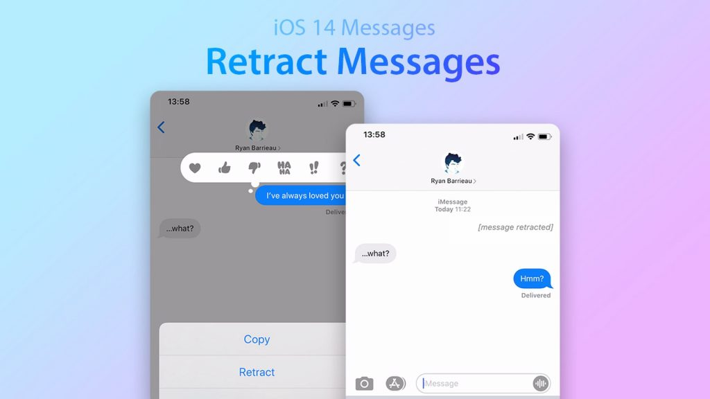iOS 14 Retract Messages