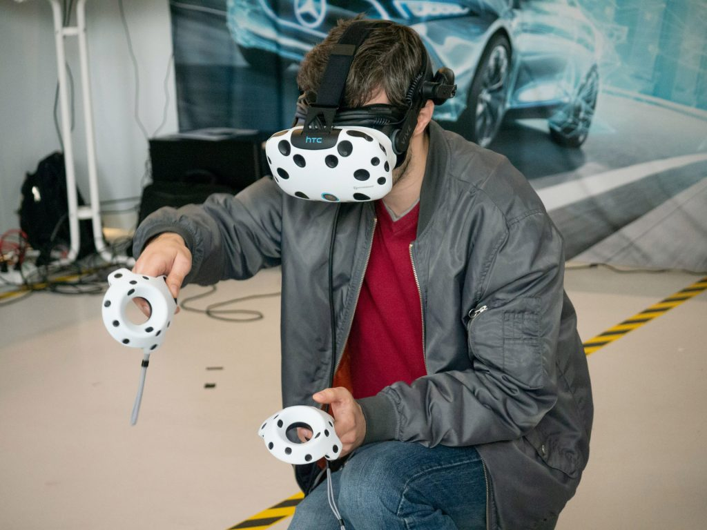 Person Playing a game on a VR headset.