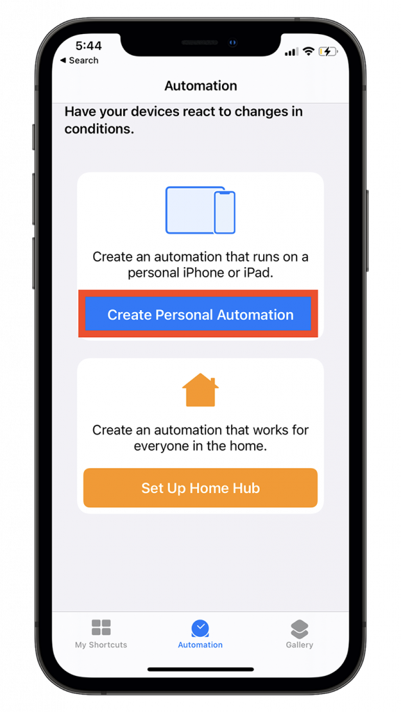 Create Personal Automation