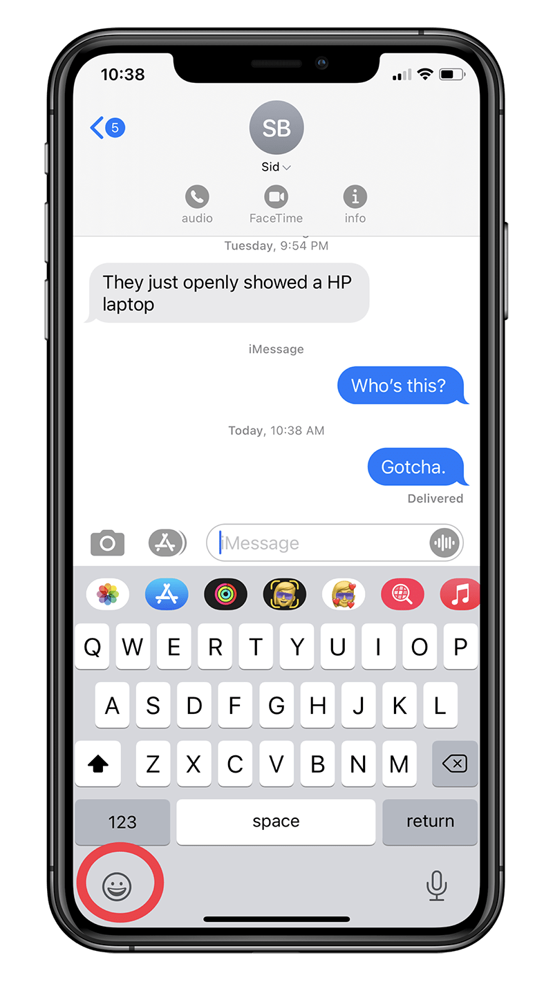 How to quickly search for emoji on your iPhone's keyboard on iOS 14!- Step 1