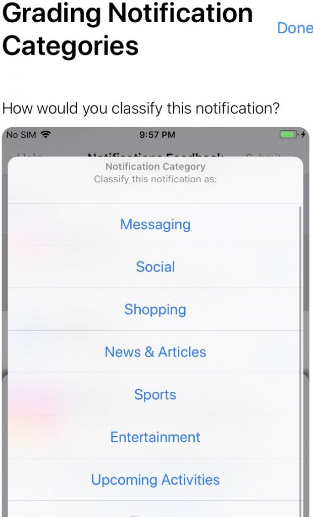 Grading Notifications according to category