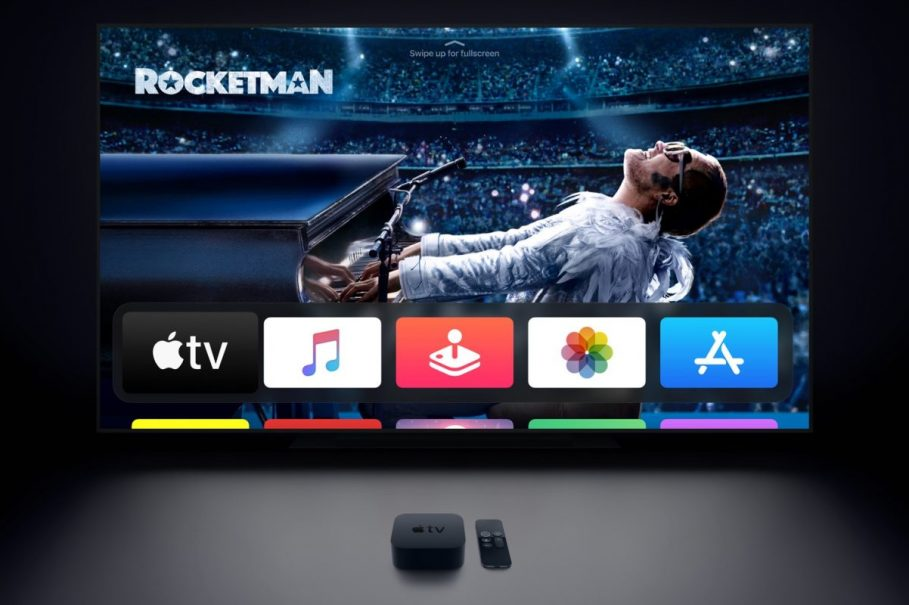 apple tv with tv set