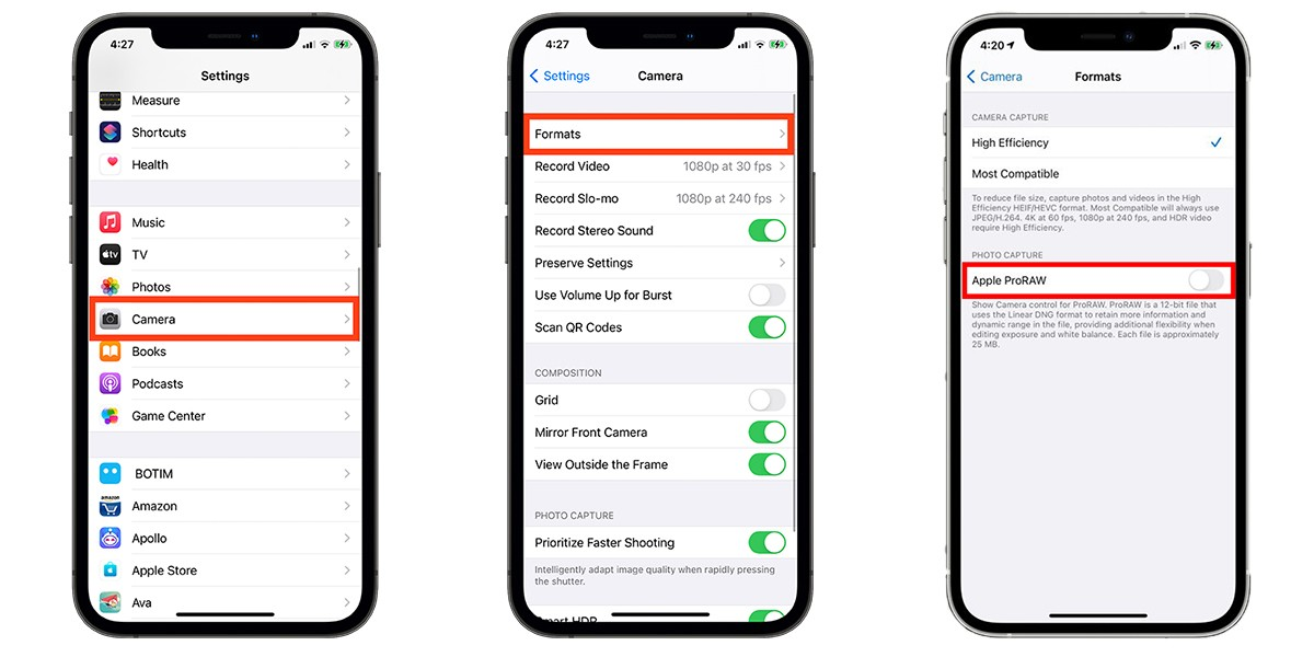 Steps to enable ProRAW on iPhone 12
