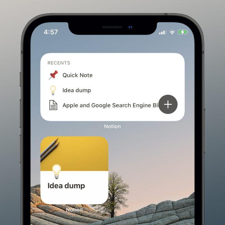 Notion Home Screen Widgets