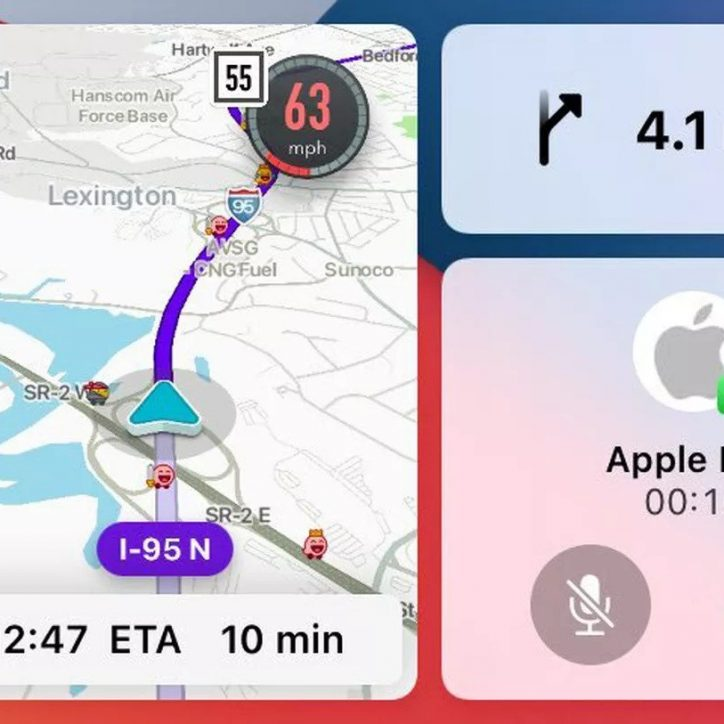 Waze CarPlay Split-Screen Screenshot