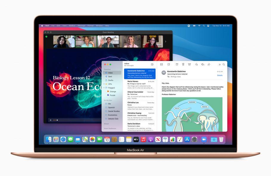 Apple new macbookair gold bigsur screen 11102020
