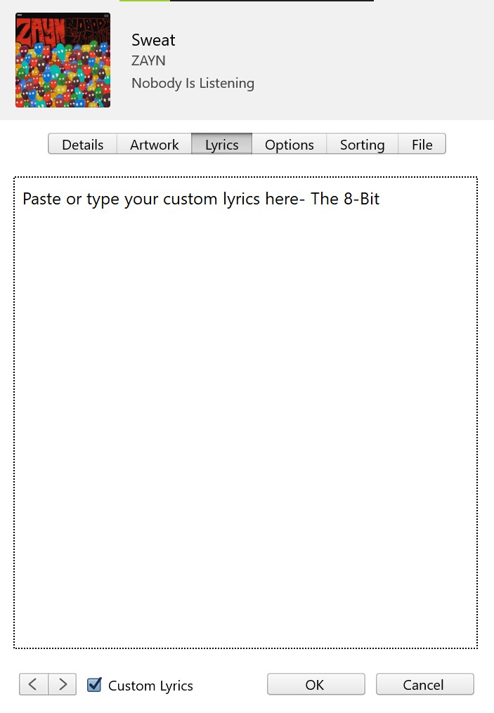 Windows iTunes Custom lyrics 5