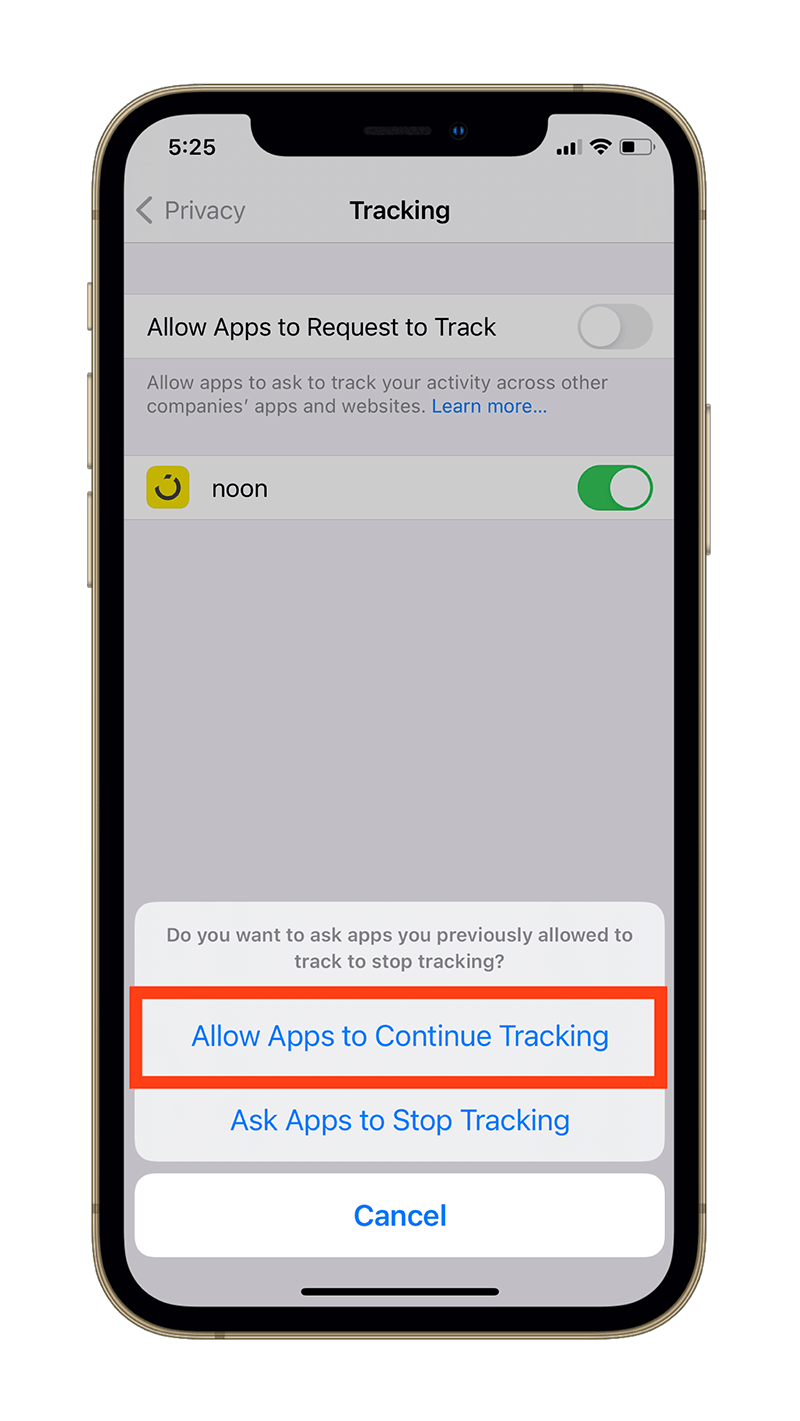 Allow Apps to Continue Tracking prompt.