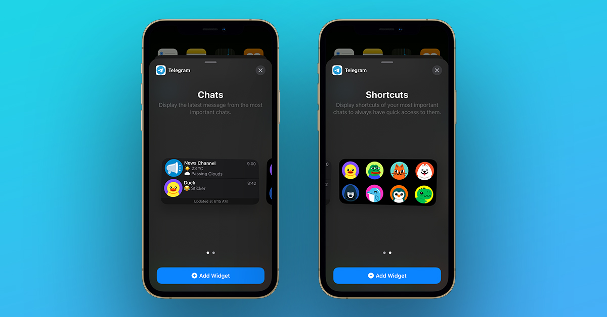 Telegram iOS 14 Widgets update