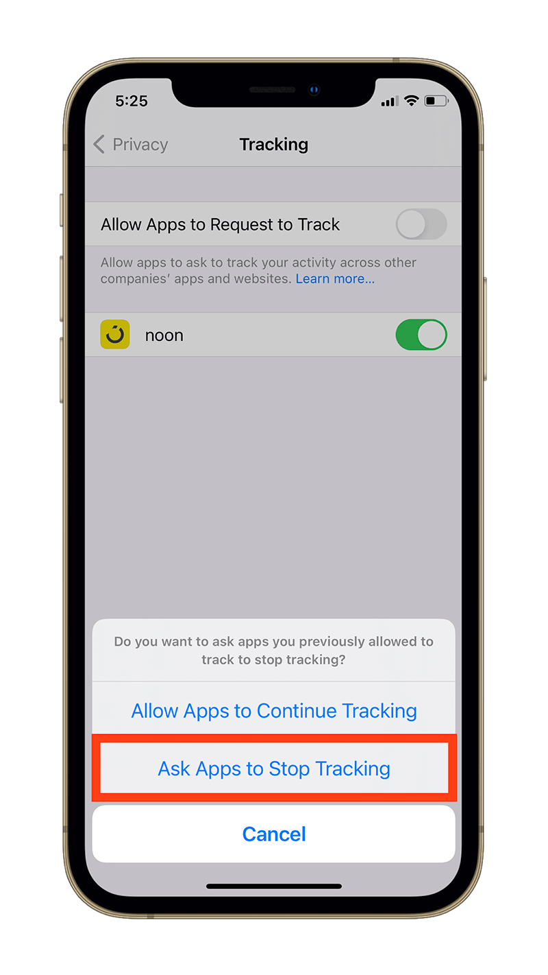 Ask Apps to Stop Tracking prompt.