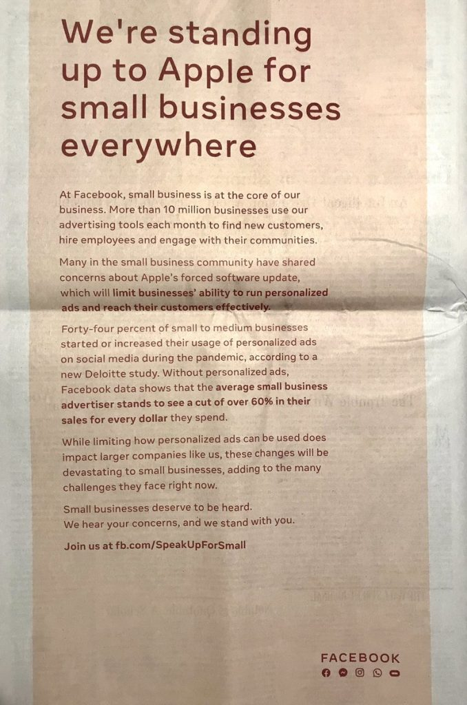 Facebook's full-page newspaper ads criticizing Apple's App Tracking Transparency features in iOS 14.