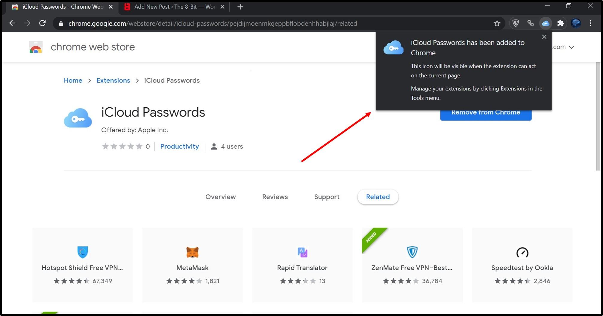 iCloud passwords plugin 2