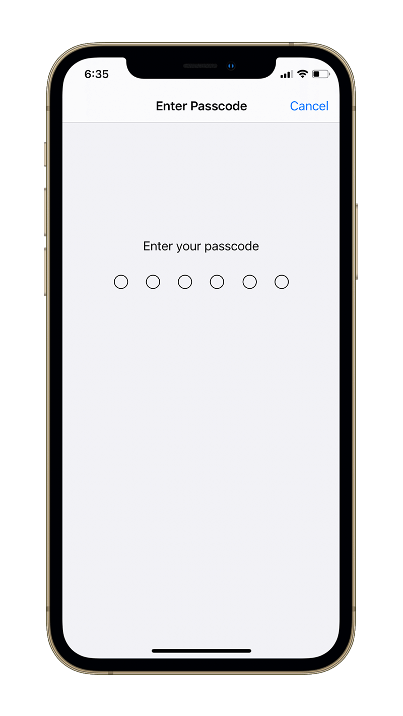 Enter Passcode.
