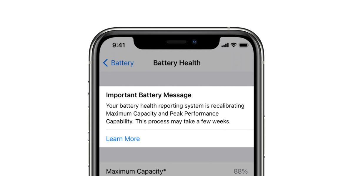 iPhone 11 Battery Health Recalibration results