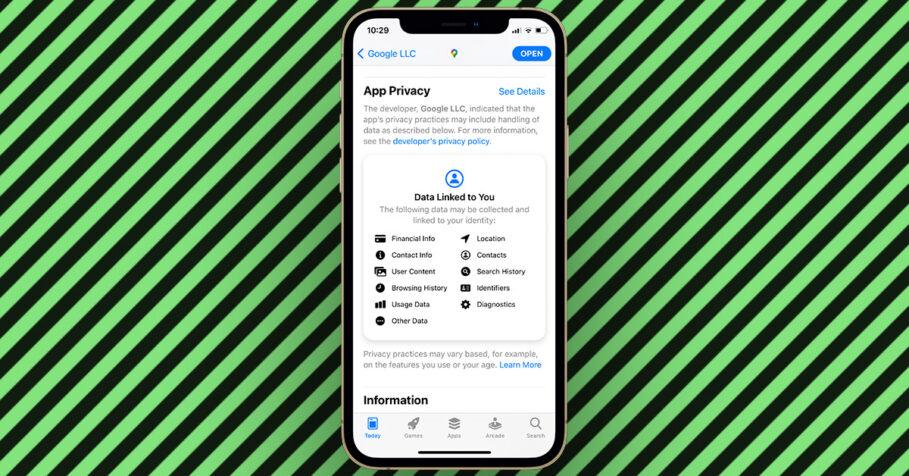 Google Maps App Privacy Labels