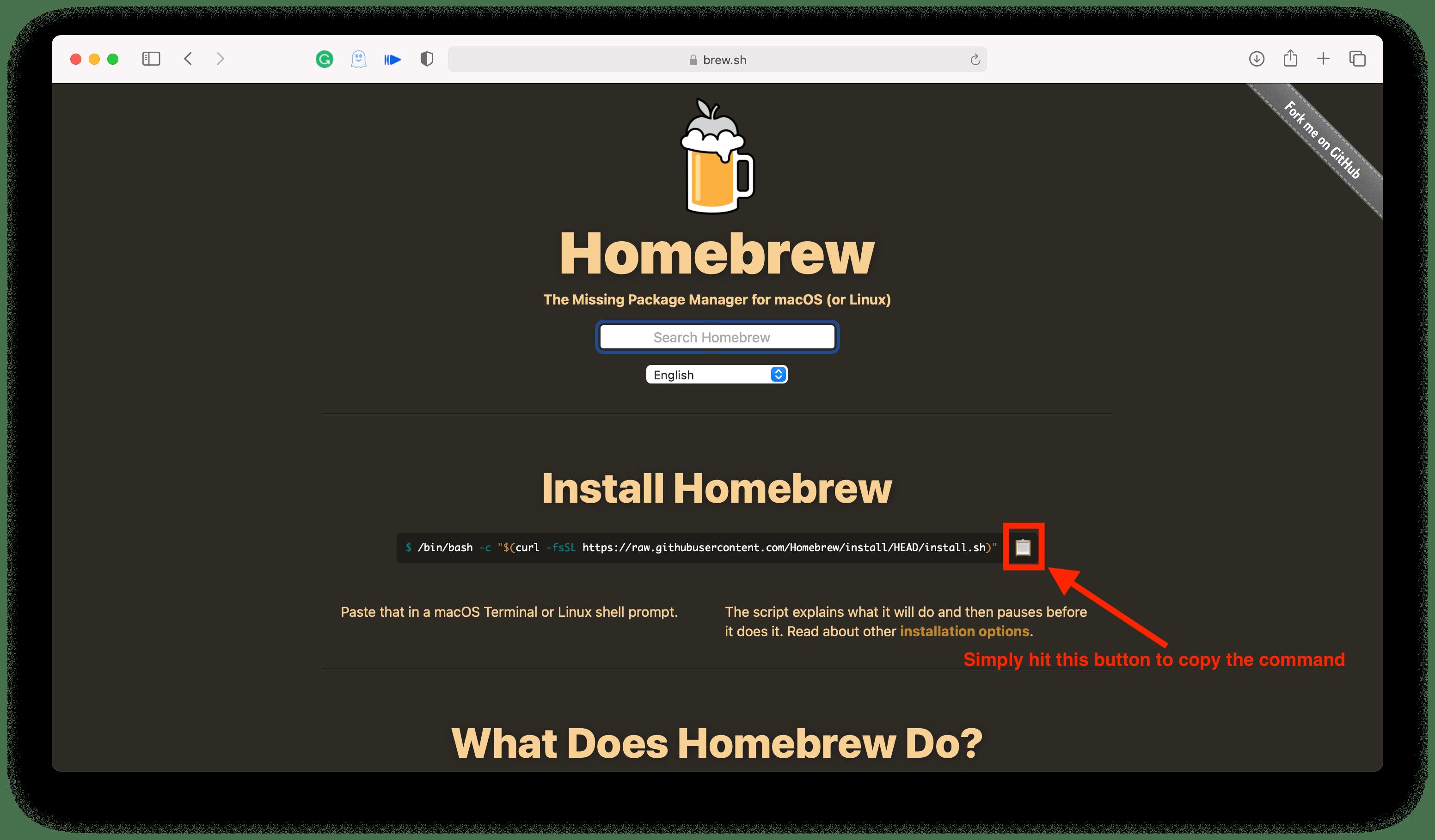 Homebrew Installation Code
