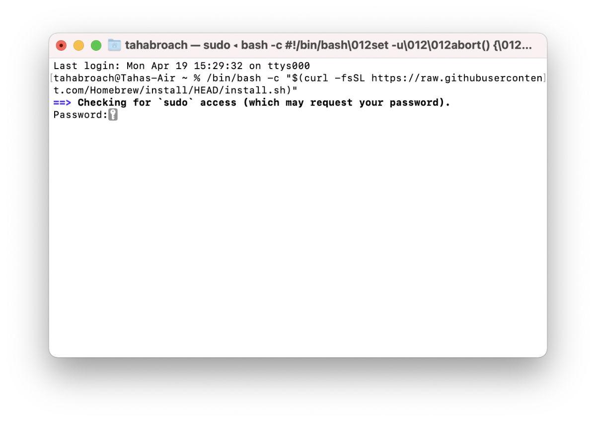 Installing Homebrew using terminal