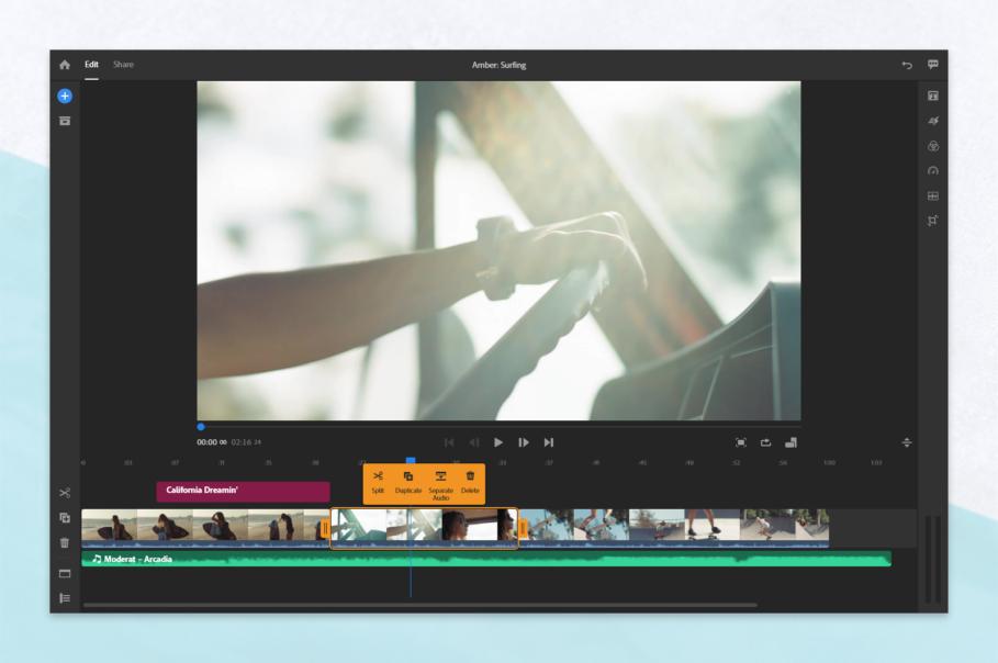 Premiere Rush Context menu Desktop