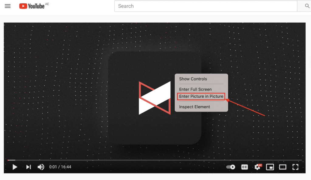 YouTube PiP on macOS