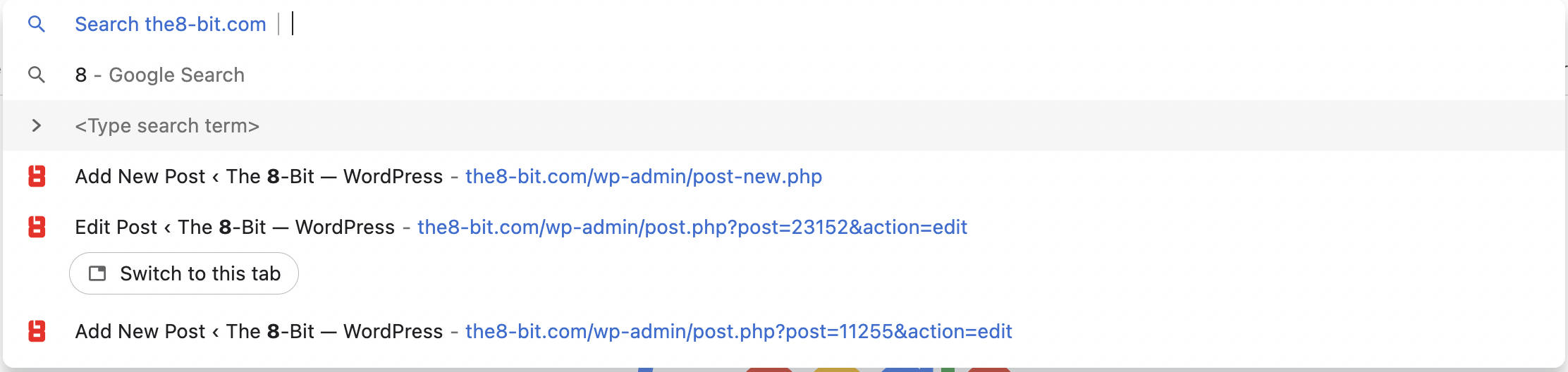 Demonstration of Chrome's direct website search.