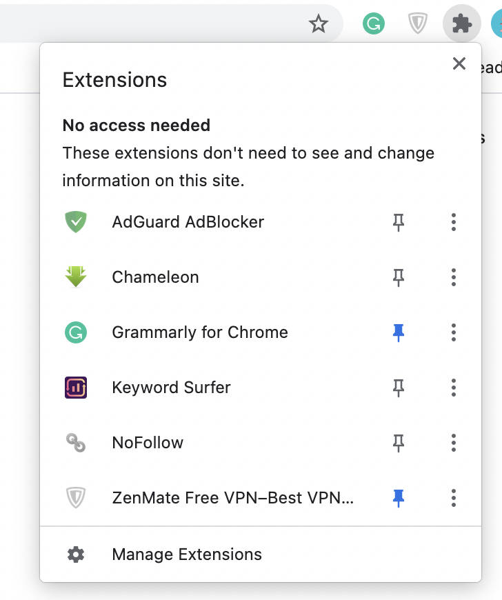 Chrome's extensions button