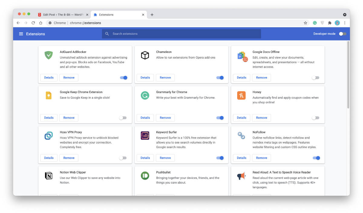 Chrome's Extensions Manager