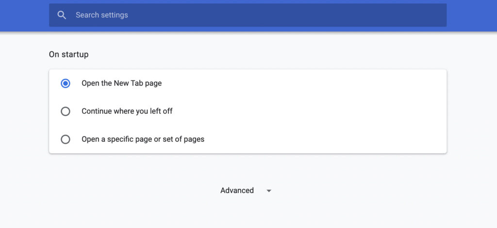 Chrome On Startup Settings