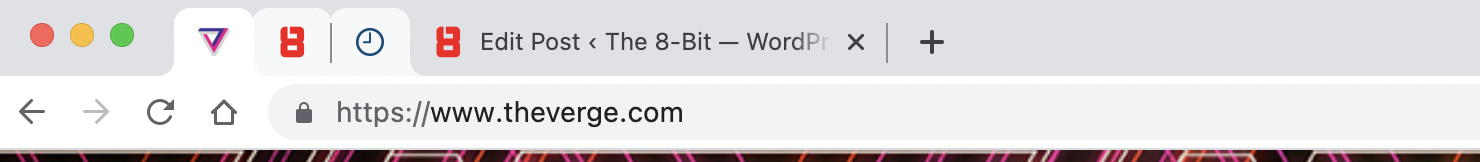 Pinned tabs in Chrome.